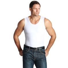 Mens As Seen On Tv Insta-Slim Tank, White, X-Large Image 1 of 3