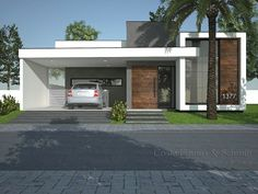 modern home architecture design Bungalow House Design, Modern Bungalow, House Front Design, Single Floor House Design, Flat Roof House, Facade House, Modern House Facades, Modern House Plans, Minimalist House Design