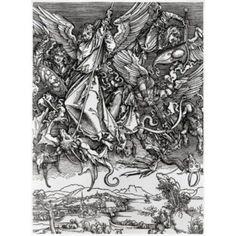 St Michael Fighting the Dragon Albrecht Durer (1471-1528 German) Engraving Canvas Art - Albrecht Durer (24 x 36)