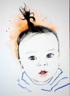 custom watercolor painting of your child, just $25 !! modern art for nursery