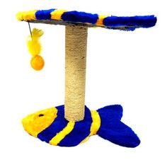 Arranhador Peixe 2 Plataformas Amarelo e Azul São Pet - Meuamigopet.com.br #cat #cats #gato #gatinho #bigode #muamigopet