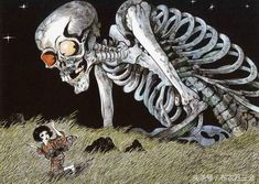 Gashadokuro is a giant skeleton from Japanese folklore. According to the Japanese urban legend, the large skeleton is made up of the bones of people who have Japanese Yokai, Horror Art, Japanese Art, Japanese Monster, Korean Art, Japanese Urban Legends, Japanese Legends, Art, Japanese Folklore