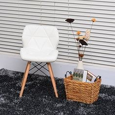Leather Dining Chair Faux Padded Solid Wooden Legs Dining Seats Office Home in Home, Furniture & DIY, Furniture, Chairs | eBay