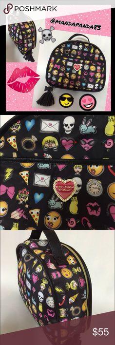 "Betsey Jonson Emoji Travel/Makeup Bag EUC Large travel bag. 8.5"" x 11"" x 4"". More details to come. Betsey Johnson Bags Travel Bags"