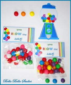 """Rainbow BUBBLE GUM Birthday Party - Instant Download -  Printable Favor TAGS """"You Blow Me Away"""" by Bella Bella Studios"""