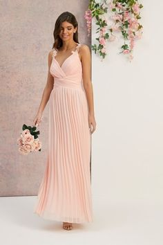Buy Lipsy Bridal Flower Strap Pleated Dress from Next Australia Bridesmaid Dresses, Prom Dresses, Formal Dresses, Wedding Dresses, Bridesmaids, Wedding Planer, Bridal Flowers, Ladies Party, Occasion Wear