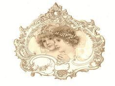 victorian trade card die-cut, angel children
