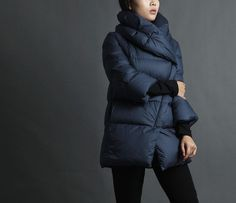 Maroon/blue winter down coat jacket women clothing top blouse 4/5 sleeved leisure coat IDEA13149