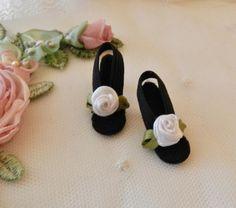 "All Black High Heel Doll Shoes for VINTAGE Elise 15.5/"" /& 16.5/"" inch"
