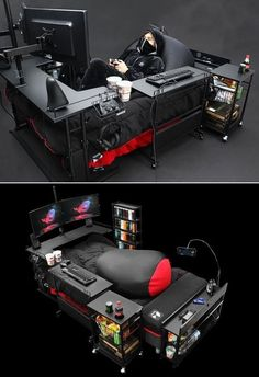 Bauhutte Gaming Beds are a Real Thing in Japan Japanese company Bauhutte makes gaming furniture according to the needs of modern gamers. You would have heard of gaming desks and chairs but the company is catching a lot of limelight for a gaming bed. Computer Gaming Room, Gaming Room Setup, Computer Setup, Pc Setup, Best Gaming Setup, Gaming Pcs, Gaming Desk Bed, Ultimate Gaming Setup, Gaming Rooms