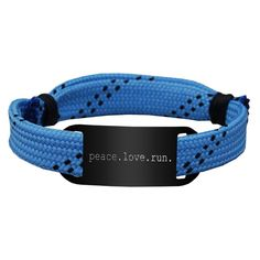 'peace. love. run.' RaceLACE Mantra Bracelet - Blue