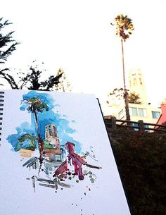 Coit Tower. From the Filbert Steps, San Francisco. Watercolor, Pen and Ink. 20 minute sketch. sketchaway.wordpress.com