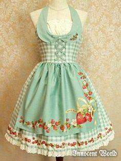 Mint green and strawberries vintage apron