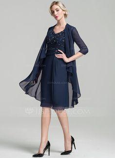 Sheath/Column V-neck Knee-Length Ruffle Beading Sequins Zipper Up Cap Straps Sleeveless Yes Dark Navy General Plus Chiffon Mother of the Bride Dress