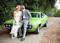 Wedding cars, limos and SUVs Such a cool green car! (Photo by Braedon Photography) Wedding cars, limos and SUVs
