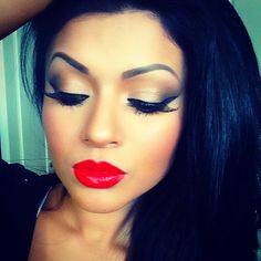 Black hair and red lips
