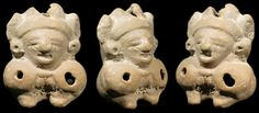 Mayan whistle figure from the Copan area of Honduras. In the form of a dwarf depicted with hands held in his lap, wearing fancy headdress and ear ornaments