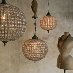 Reproduction Globe Beaded Chandelier