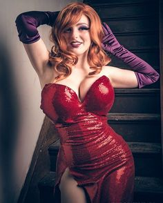Morgan (gorgeous model) as a cosplay girl (in sensual red dress for Jessica Rabbit's dress).