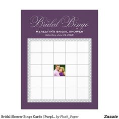 "Bridal Shower Bingo Cards | Purple and Silver 8.5"" X 11"" Flyer"