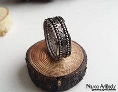 Hand hammered braided ring of german silver/neusilber. Size 9. Rustic/medieval style ring. Unique artisan/handcrafted jewellery. Metalwork.