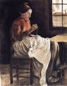 Woman Sewing by Vincent van Gogh #art