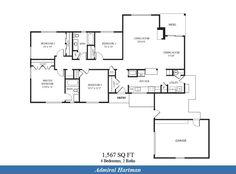 Naval Complex San Diego – Admiral Hartman Neighborhood: 4 bedroom 2 bath home floor plan (1567 SQ FT).