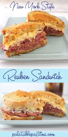 Reuben Sandwich The Reuben sandwich is filled with corned beef and lots of cheese and grilled to crispy goodness on rye or pumpernickel bread. Reuben Sandwich by Sue Lau Corned Beef Sandwich, Grill Sandwich, Croissant Sandwich, Gourmet Sandwiches, Corned Beef Brisket, Cake Sandwich, Hot Sandwich Recipes, Pastrami Sandwich, Sandwich Recipes