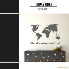 Today Only! 50% OFF this item.  Follow us on Pinterest to be the first to see our exciting Daily Deals. Today's Product: Oh the places we'll go! Vinyl wall decal for living room, nursery, bedroom. World map decal, world map wall art, world home decor Buy now: https://www.etsy.com/listing/479592885?utm_source=Pinterest&utm_medium=Orangetwig_Marketing&utm_campaign=sat   #followme #style #sale #bossbabe #instasale #momboss #dealoftheday #todayonly #dailydeal #etsy #etsyseller #etsyshop…