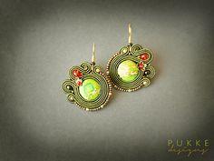 Green soutache earrings Jasper earrings Women accessory by pUkke Soutache Bracelet, Soutache Jewelry, Women's Earrings, Beaded Jewelry, Handmade Jewelry, Beaded Bracelets, Green Gifts, Jasper Stone, Green Earrings