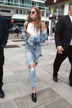 gigi hadid street style. lots of destroyed denim
