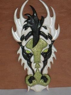Dragon Intarsia  White w/Black Accents by KentsKrafts on Etsy, $45.00
