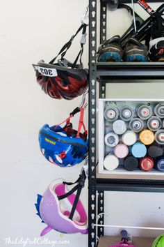 DIY Garage Organization Ideas - Simple Rack Storage - Cheap Ways to Organize Garages on A Budget - Ideas for Storage, Storing Tools, Small Spaces, DYI Shelves, Organizing Hacks Organisation Hacks, Organizing Hacks, Diy Organization, Garage Hooks, Diy Garage, Garage Ideas, Garage Shelving, Garage Paint, Small Garage