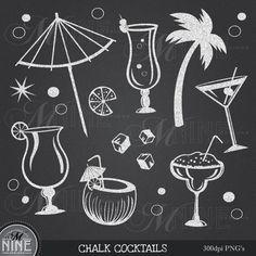 CHALK COCKTAIL Clip Art: Chalk Party Clipart, Chalk Download, Chalkboard Luau Martini Chalk Margarita Food Drinks