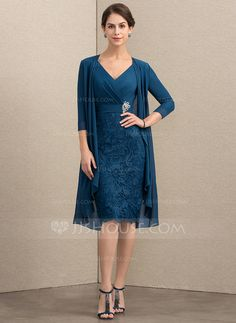 30329d0128e Sheath Column V-neck Knee-Length Chiffon Lace Mother of the Bride Dress  With Crystal Brooch