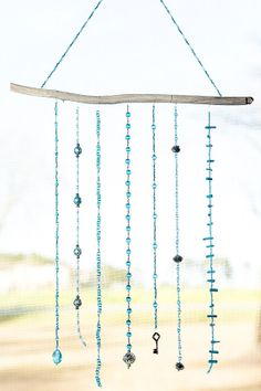 A Touch of Glass, Shades of Blue, Bead Mobile, Bead Hanging, Sun Catchers, Wall Decor, Light Catchers, Glass Beads