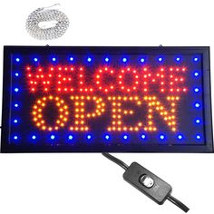 """Animated Motion LED Welcome OPEN Store Shop Business Sign 19x10"""" neon Display…"""