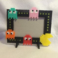 PacMan photo frame perler beads by awesomeangela13