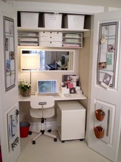 convert a small closet into tiny office space. I could use 2 of these spaces. 1 for an actual personal office and the other for sewing/crafting... It would be an efficient way to have separate and dedicated spaces in a tiny amount of space. I love how it can be stored away by simply closing the doors.