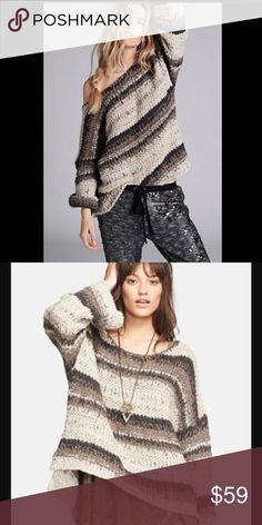 Free People Slouchy Pullover Sweater🌿 Extremely gently worn... like one afternoon.. most all my pieces are just that, in like new cond as either worn once for pictures or just tried on or for one occasion. I have loads of FP and adore all of the clothing, hope you will as well☮️💕 beautiful oversized Slouchy oh so cute sweater 🍂gorgeous browns in this baby w cream colors Free People Sweaters Crew & Scoop Necks