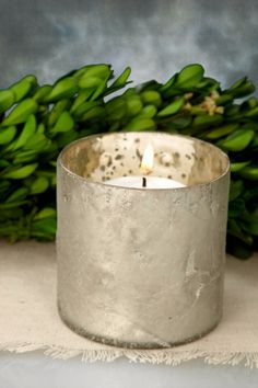 Mercury Glass Votive Holder Frosted White 3x3in $4.00