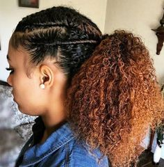 Natural Hair, hairstyles for black women. Flat twists and ponytail.