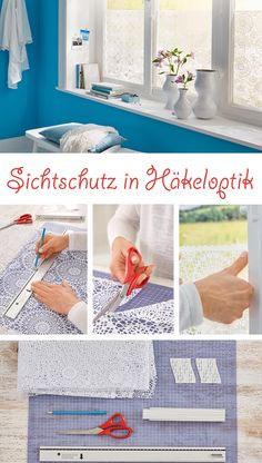 Sichtschutz fürs Fenster You can make a nice privacy screen for the window from an oilcloth tablecloth craft Dining Room Windows, Dining Room Bench, Home Projects, Home Crafts, Fun Crafts, Living Room Ideas 2019, Oilcloth Tablecloth, Window Design, Cool Diy