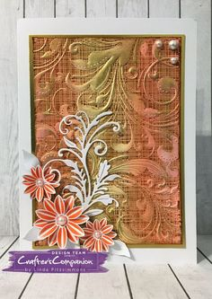 Card made using Crafter's Companion 3D Embossing Folder – Regency Swirls. Designed by Linda Fitzsimmons #crafterscompanion
