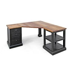 Our Cardiff Corner Desk is great for those smaller spaces where function is critical for your home office work space. Made up of three parts for ease of set up. Shown in our Natural Patina and Antique Black bases. Many finish, size and configuration optio Furniture Care, Furniture Making, Office Furniture, Furniture Design, Furniture Projects, Lacquer Furniture, Furniture Websites, Furniture Storage, Bedroom Furniture