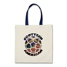 #Scottish American #Soccer Ball Tote Bag. To see a wide range of #genealogy and ancestry products, featuring many nations, please take a look in my store: www.zazzle.com/celticana*/