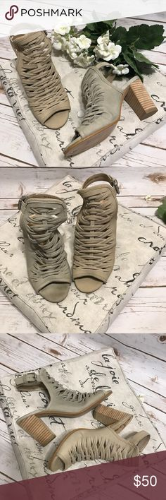 """Sam Edelman Strappy Sandals NWOT Sam Edelman tan strappy sandals with 3.5"""" block heels. Has permananet marker writing on bottom of heels from department store. Sam Edelman Shoes Sandals"""