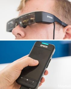 The Epson Moverio BT-200 augmented reality smart glasses.