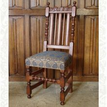James II Dining Chair, upholstered in Medieval Swans, designed and made by Stuart Interiors Oak Chairs, Dining Chairs, Ella Enchanted, Medieval Furniture, Solid Oak, All Design, Swans, The Originals, Hogwarts