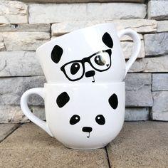 Panda Face / Nerdy Panda Ceramic Soup Mug (White) / Steppie Clothing These are..SOO cutee!! I want it!!